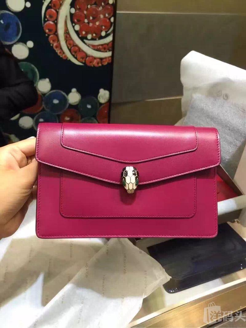 宝格丽玫红色mini手拿时尚包包