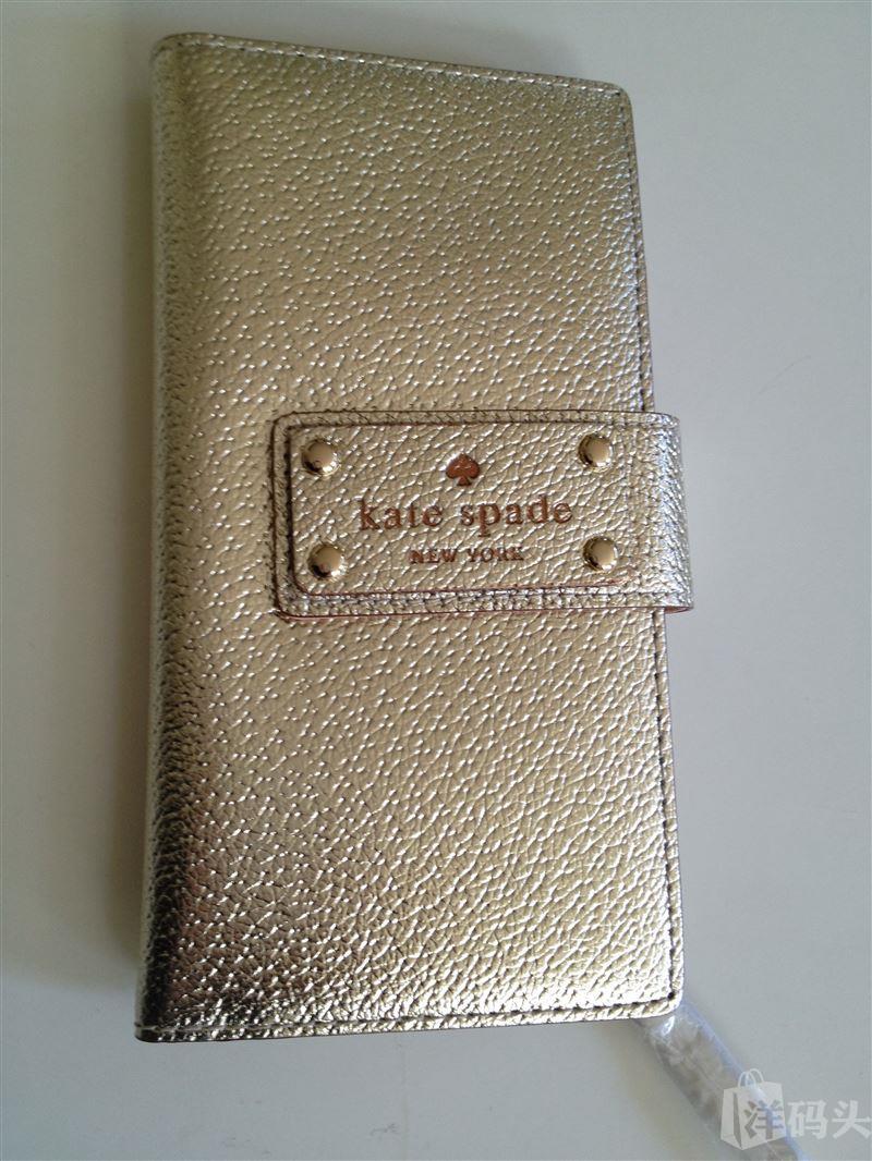 现货 kate spade 金色长款钱包 WLRU1151