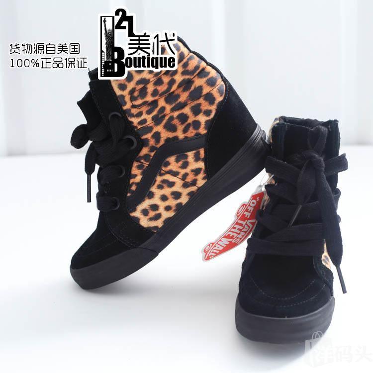 美国代购正品万斯VANS女鞋范斯高帮板鞋坡跟滑板鞋帆布运动鞋