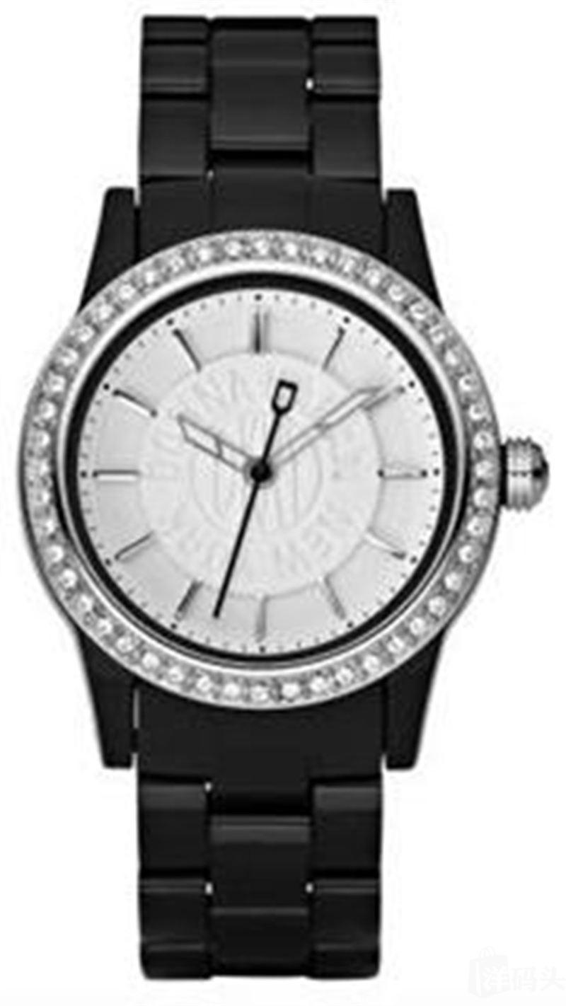 [直邮]DKNY 唐可娜儿水晶钻/石英拨号树脂黑色表带表 NY8012