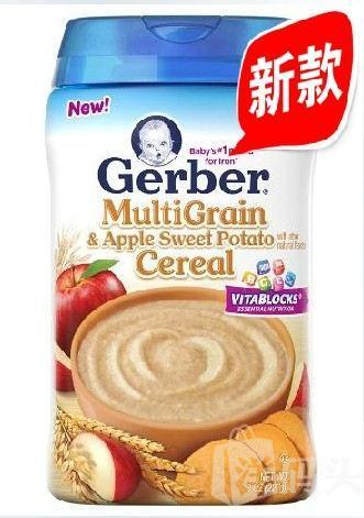 美国直邮 美国GERBER 嘉宝二/2阶段苹果番薯混合谷物米粉 227g