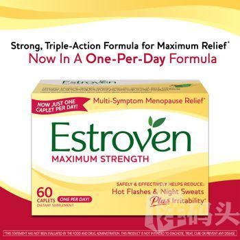 美国Estroven® Maximum Strength女性更年期强效营养素/夜汗/潮热60粒