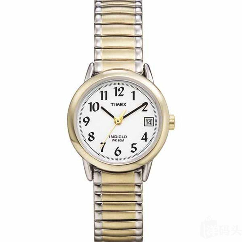 国内现货 TIMEX天美时双色表带钢带女式手表T2H381 带夜光日历