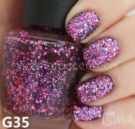 美国OPI 彩色指甲油 2014聚光灯灯亮片系列 G35 桃红+紫亮片 15ml
