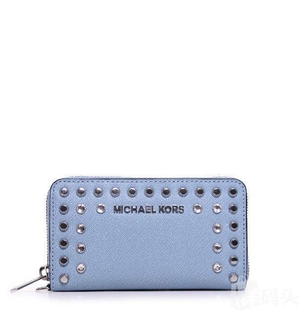 Michael Kors MK 十字纹铆钉拎水钻带钱包 手机包