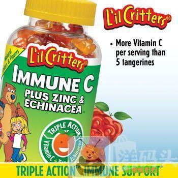 美国L'il Critter维生素C+锌+紫锥菊小熊软糖 190粒