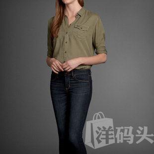 Abercrombie Fitch AF旗舰女款军装军绿长袖衬衫衬衣正品现货实拍