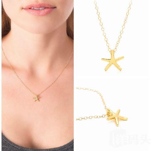 现货美国正品【Gorjana】明星同款精致海星18K金项链starfish