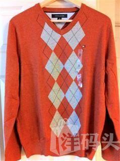 Tommy Hilfiger 男士经典格纹V领 纯棉针织衫