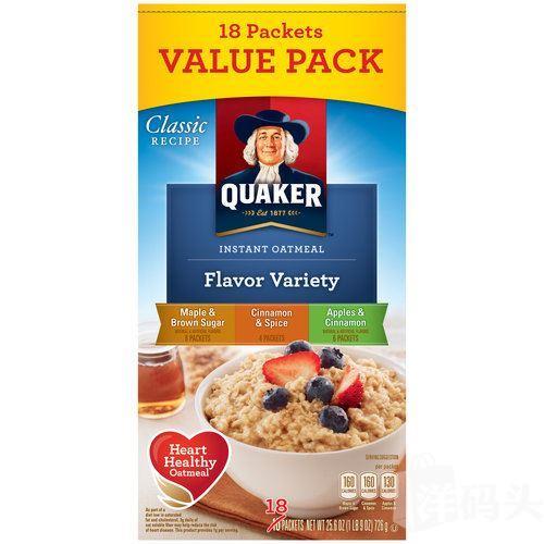 美国直邮现货Quaker Oats桂格即食速食燕麦片 多种口味