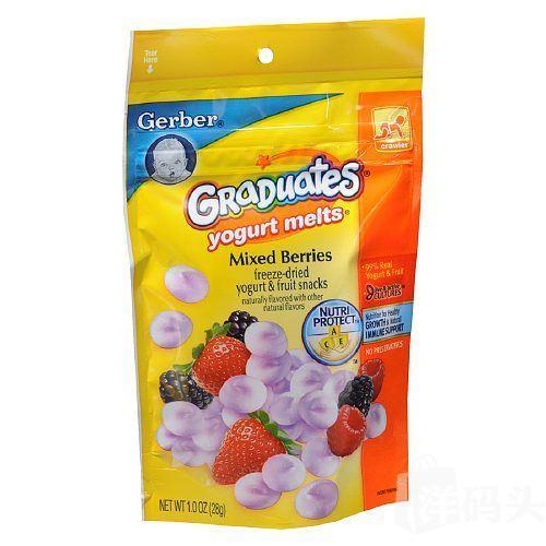 美国直邮 GERBER嘉宝蓝莓草莓浆果混合酸奶溶豆28g 好吃零食