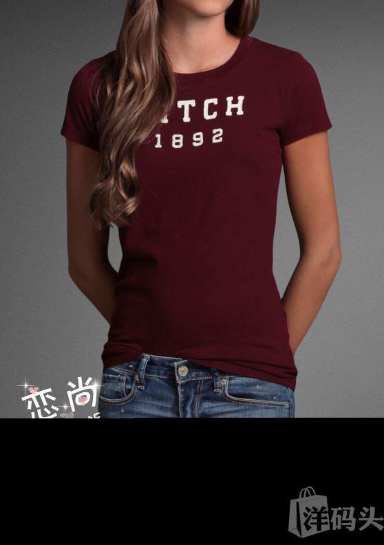 国内现货 AF 女士暗红色字母图案超柔纯棉圆领短袖t恤 S