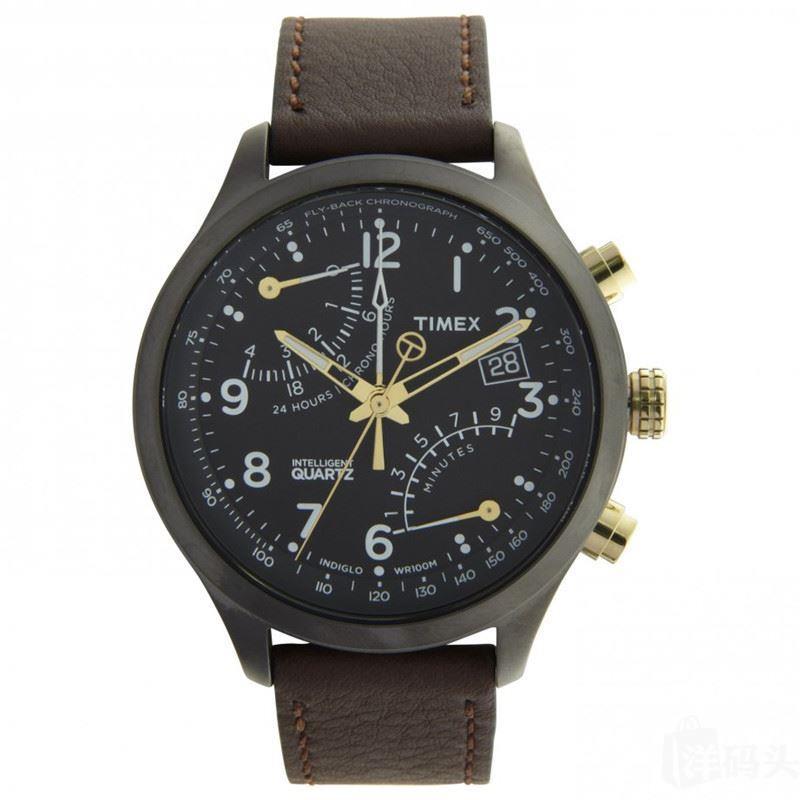 国内现货TIMEX真皮飞返计时码表时尚休闲手表男士表T2N931