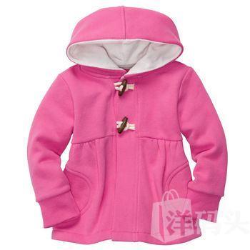 美国 卡特Carter's 秋冬款女童粉红色带帽抓绒外套
