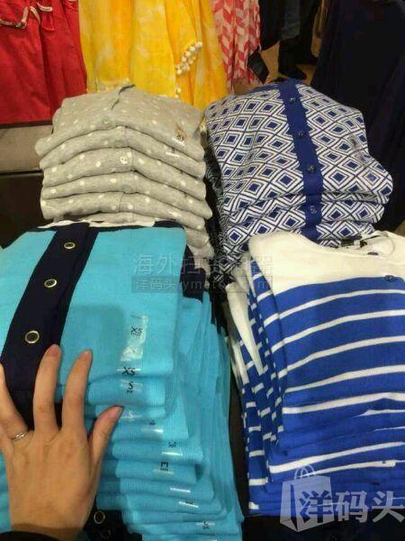 TOMMY女开衫毛衣,上面的两件,米色,白底花,到手价298