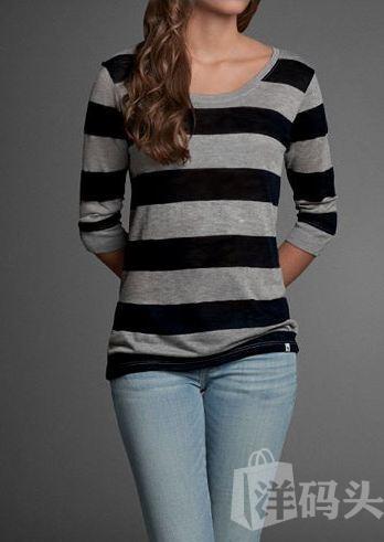 【美代现货】Abercrombie&Fitch A&F女士条纹薄款5分袖针织衫