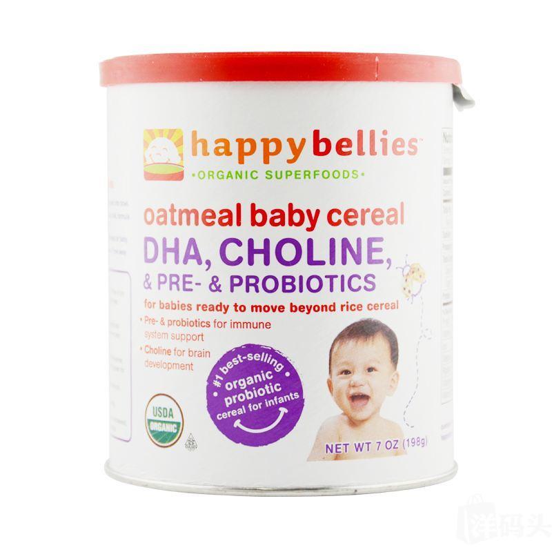 美国直邮代购 Happy bellies 禧贝二段燕麦米粉米糊DHA 原装进口