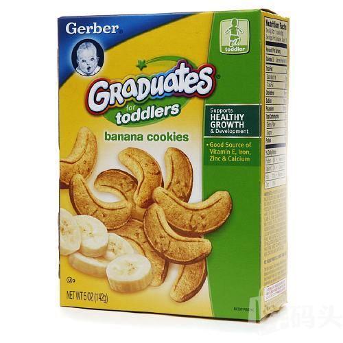 美国直邮 GERBER嘉宝香蕉磨牙饼干钙铁锌幼儿营养辅食 142g