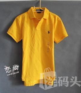 国内现货Ralph Lauren男士黄色静版绣标网格短袖polo衫S