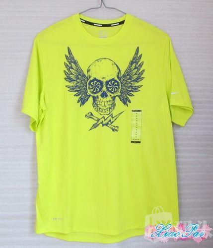 美国代购正品*Nike 男士运动短袖T恤 骷髅图案 透气 荧光黄451273