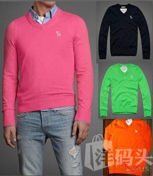特价现货正品Abercrombie Fitch/AF针织衫男V领毛衣羊毛衫羊绒衫