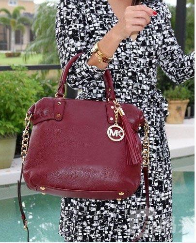 Michael Kors MEGAN Large Leather Satchel Bag - Cinnabar/Maro