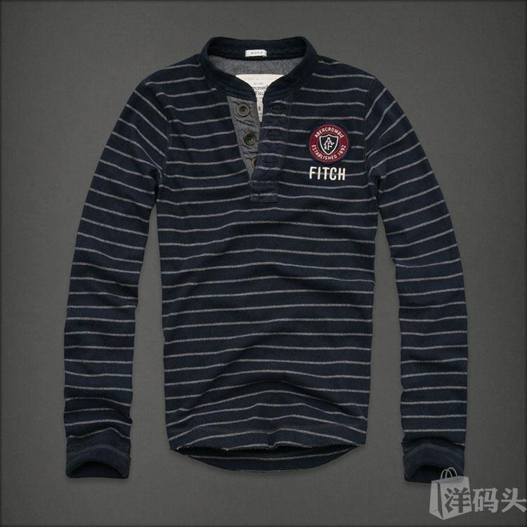 现货-正品代购Abercrombie Fitch男士休闲款亨利领全棉AF长袖T恤