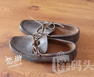 国内现货 t.imberland 男士棕色做旧风纯皮低帮皮鞋US7.5/41