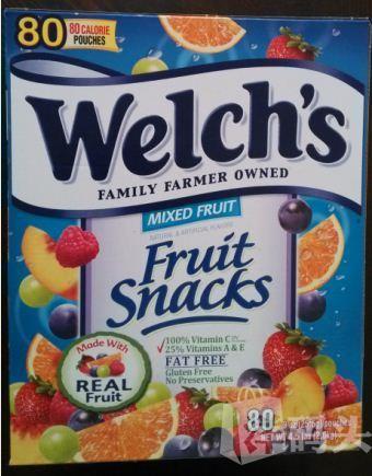 【美国护航直邮】Welch's100% 纯果汁软糖 添加多维他A、C、E 80包