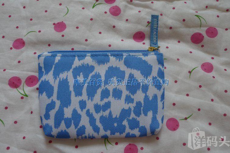 美国专柜正品雅诗兰黛帆布蓝色豹纹零钱包化妆包
