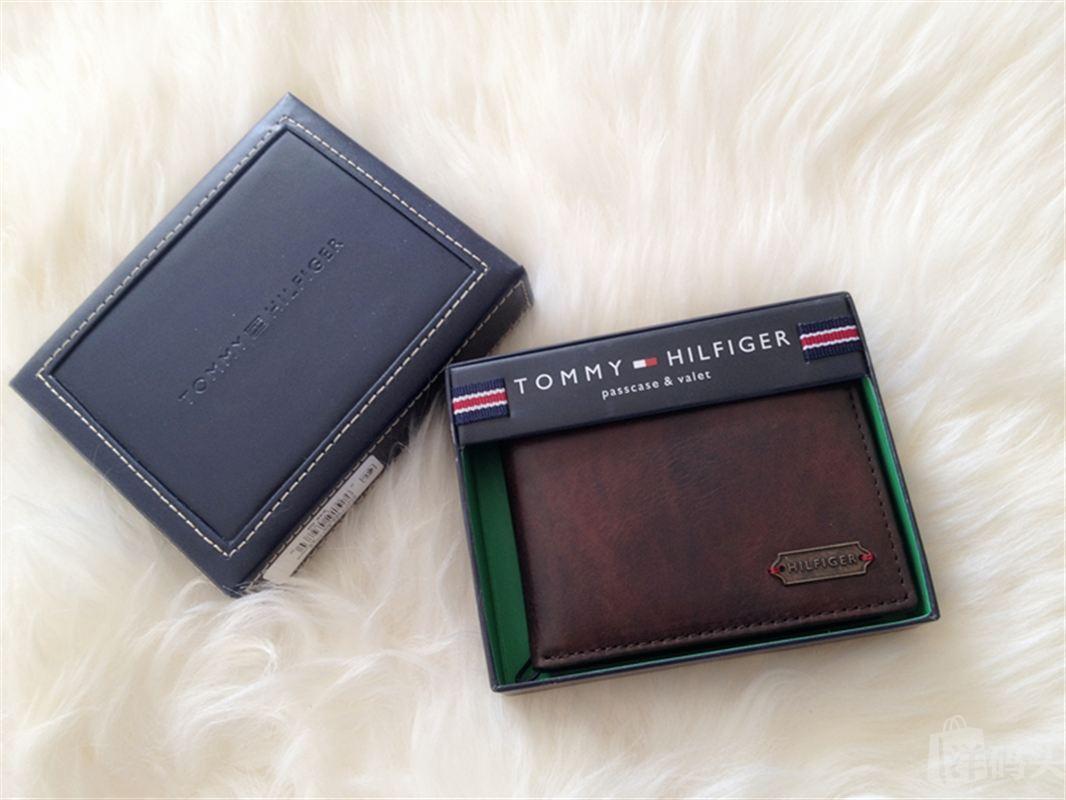 国内现货 Tommy Hilfiger男款真皮复古风格短款钱包礼盒装