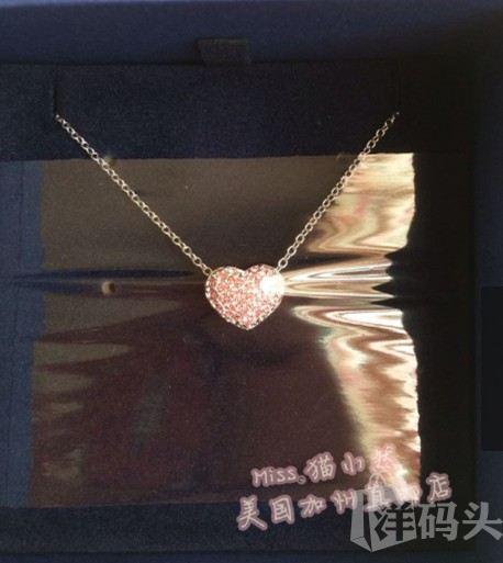 美国直邮包关税  施华洛世奇 镶钻爱心水晶项链