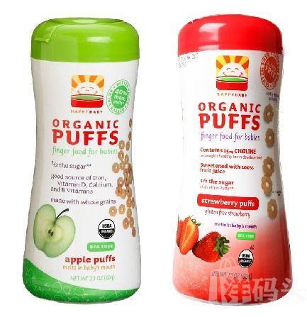 (美国直邮)HappyBaby有机全麦泡芙婴幼儿零食 苹果草莓品味 60g 2罐组合