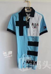 国内现货 Tommy Hilfiger男士三色拼接绣标网格短袖polo衫XS
