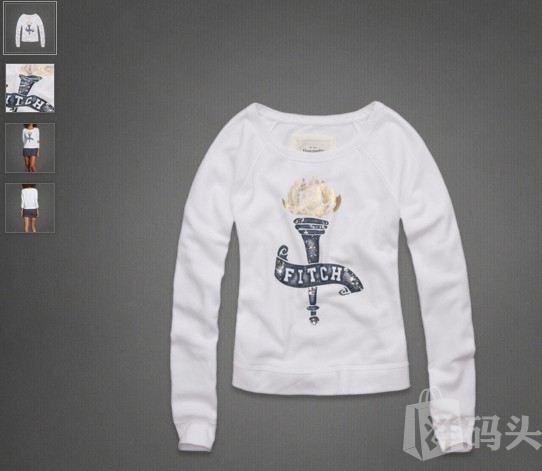 【特价】AF女士时尚亮片圆领 套头衫/卫衣/外套 BRIEANN 白色