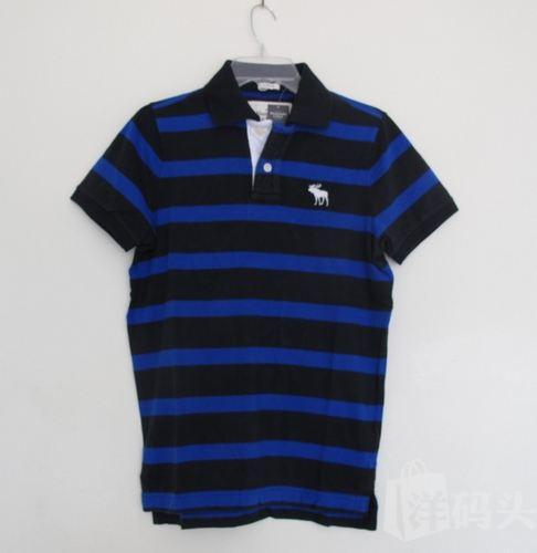 美国代购正品*Abercrombie Fitch AF小鹿 男士polo衫 蓝黑国米