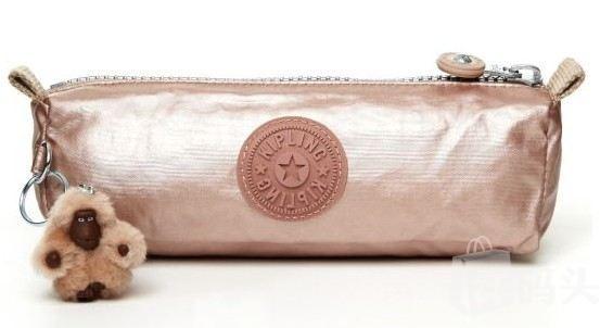 Kipling玫瑰金化妆包/收纳袋/手拿包