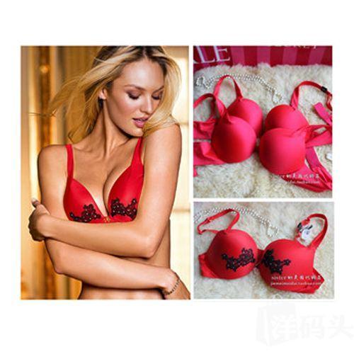 现货 美国正品维多利亚的秘密/VS女文胸 性感聚拢 舒适 红色小胸