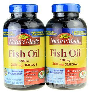 美国原装Nature Made Fish Oil 深海鱼油1200mg200粒 2瓶装
