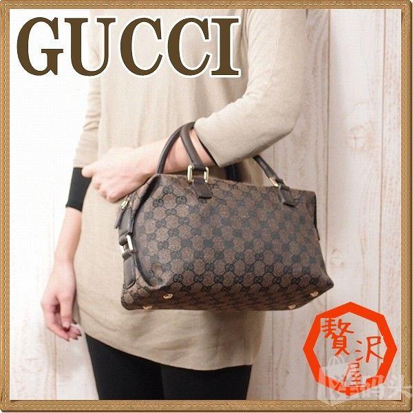 gucci 经典帆布boston波斯顿桶包时尚手提女包 272375