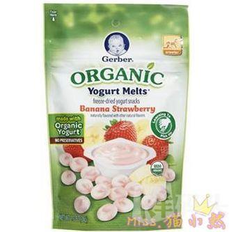 嘉宝Gerber有机香蕉草莓味酸奶小溶豆28g