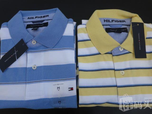 美国直邮Tommy Hifiger全棉2粒扣男士短袖条纹/白色polo-M码以上
