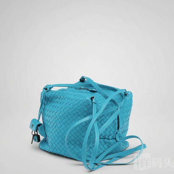 美国直递 Bottega Vene Turquoise Intrecciato Nappa Cubo 斜挎