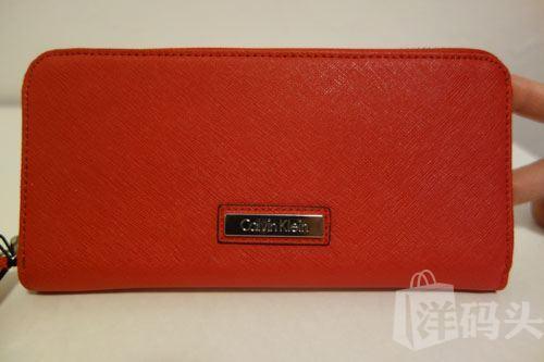 现货包邮包税 Calvin Klein/CK女士十字纹全皮长款钱包