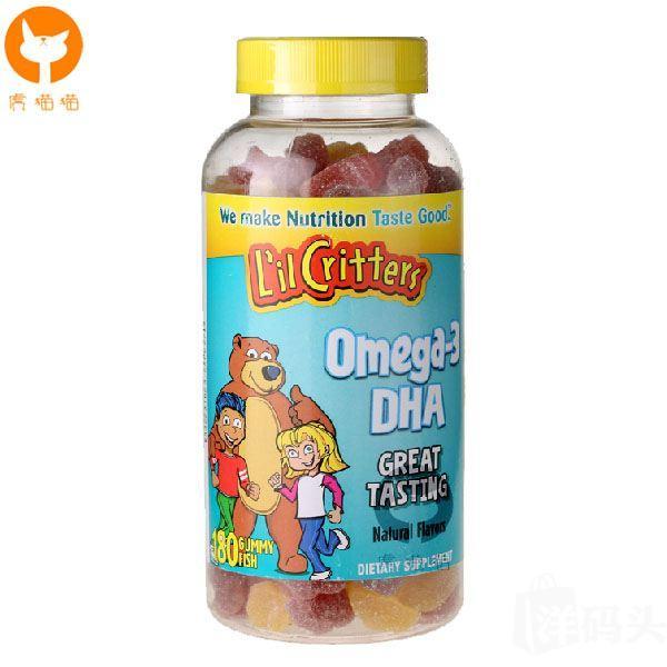 美国直邮 L'il Critters熊宝宝小熊糖Omega3 DHA鱼油 180粒