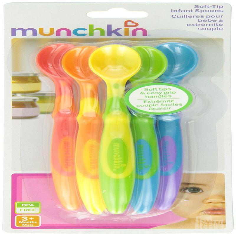 美国直邮Munchkin麦肯齐软勺婴儿宝宝彩色长柄软头勺6个装不含BPA