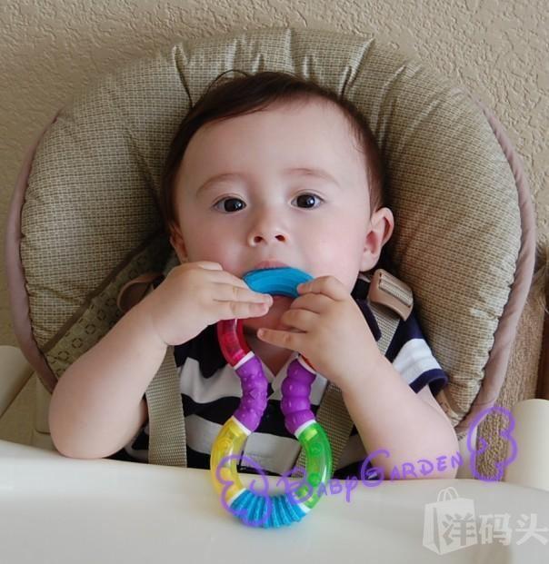 美国Munchkin麦肯奇8号曲型多色婴幼儿牙胶固齿器6月+/不含BPA 现