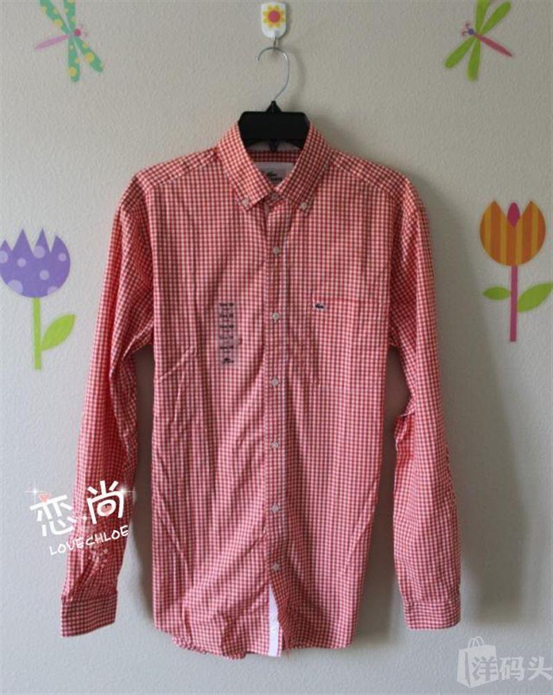 国内现货Lacoste/法鳄男士橘红白格子青春绣标长袖衬衫 38