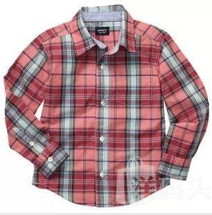 7折现货 美国carter's卡特 秋季新款 男童格子长袖衬衫