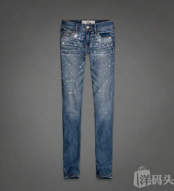 美国代购Abercrombie&Fitch AF女式小脚镶钻牛仔裤Super skinny